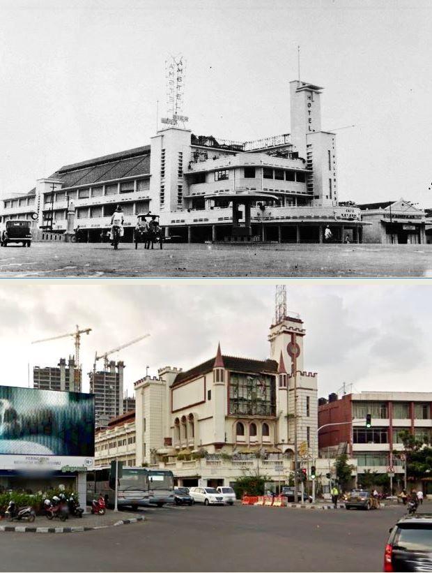 Hotel Des Galeries aan Molenvliet East, Weltevreden te Batavia, 1937 1941  Hotel Gayatri, jl Hayam Wuruk, jKarta, 2015