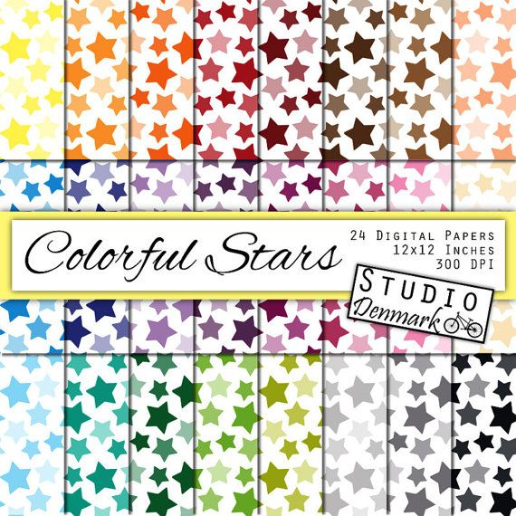 Colorful Stars Digital Paper - 24 Color Star Background - Commercial Use - 12in x 12in - Instant Download Star Digital Paper #handmade #gifts