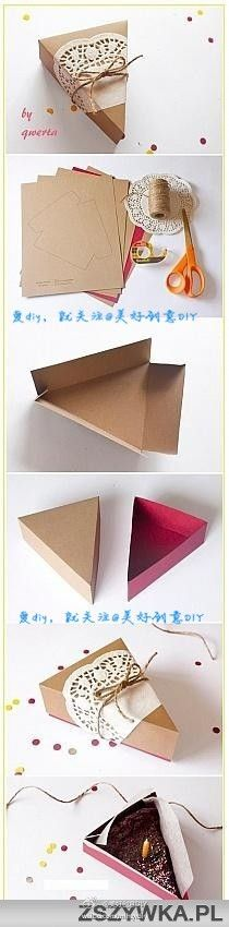 paper cake box-- that's cute but I'd never be able to cut the pie the same size as the box! Lol