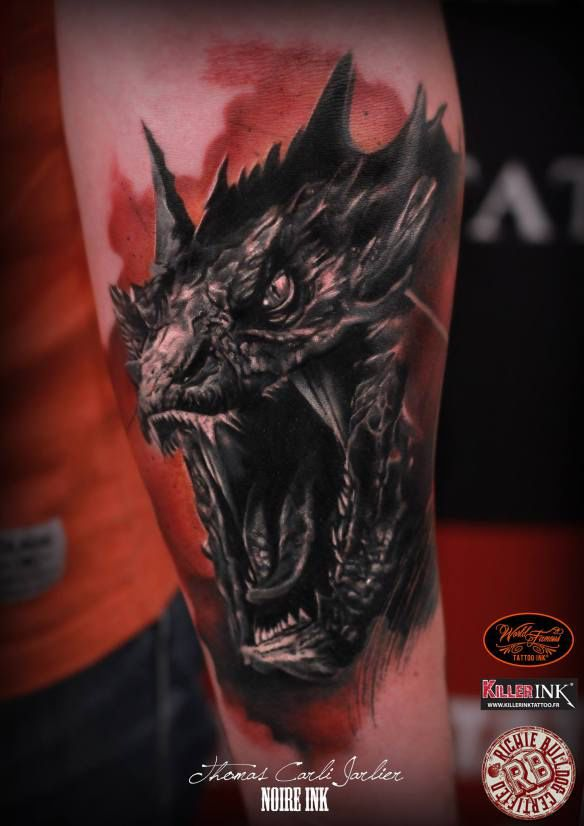 Wicked cool Smaug tattoo