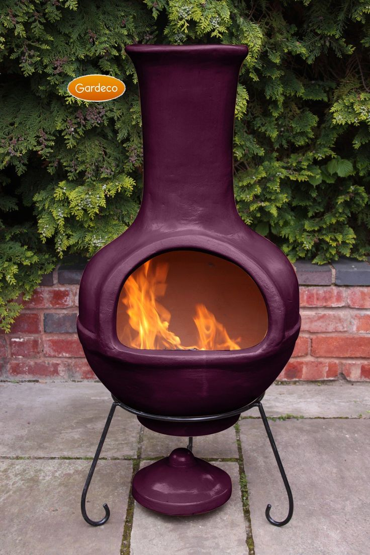 best chimenea images on pinterest  garden ideas backyard  - colima mexican chiminea  aubergine (jumbo)