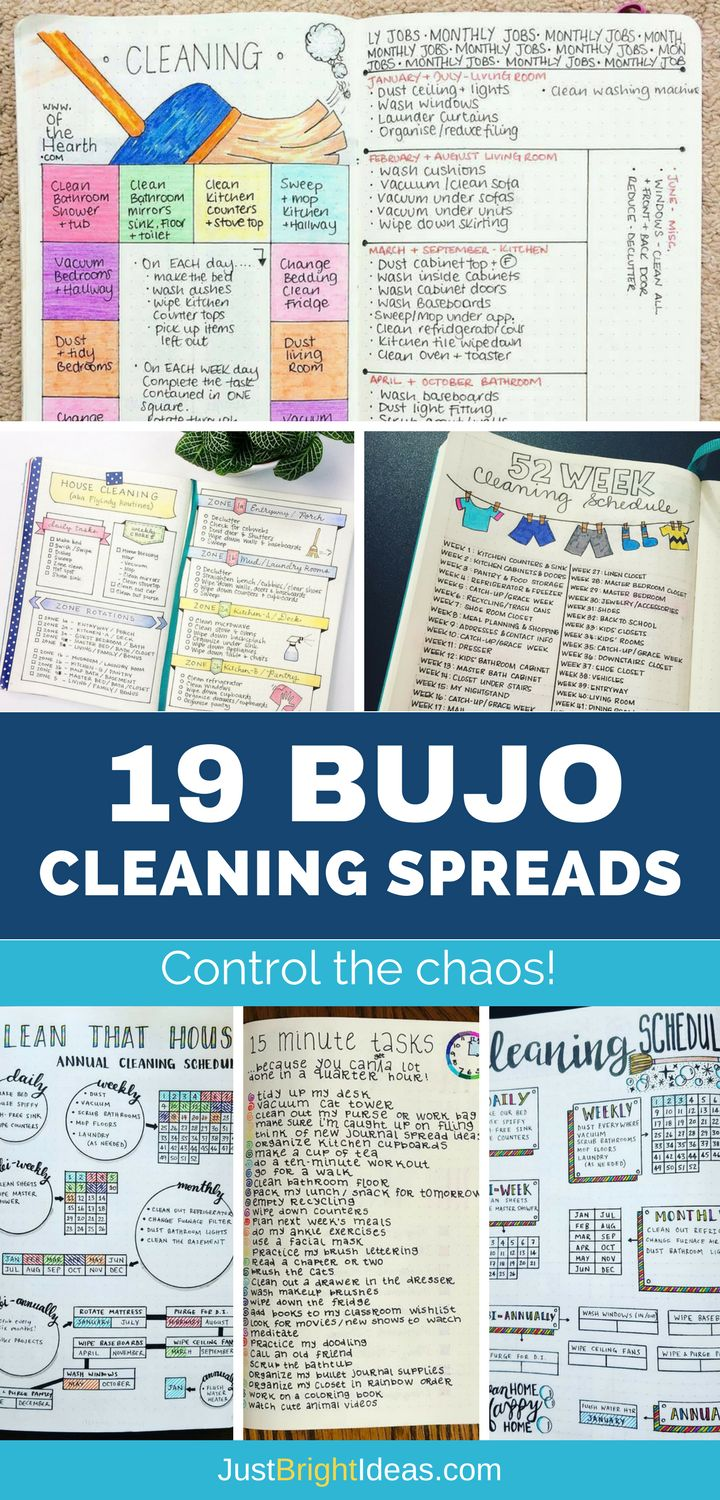 If you struggle to keep your home clean and tidy you're going to love today's Bullet Journal cleaning schedules. Pick out the spread that you love the most and stay on top of the chores once and for all! #cleaning #bujo #bulletjournal #weekly