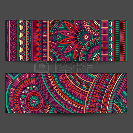 ethnic pattern cards set Stock Vector