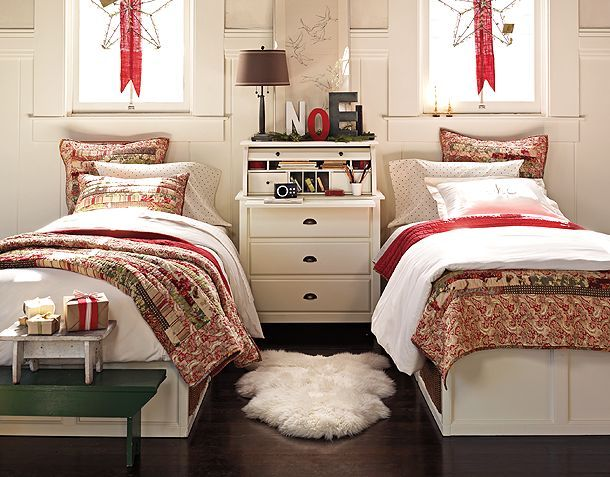 Bedroom Decorating: Kids Bedrooms, The Holidays, Christmas Bedrooms, Pottery Barns Christmas, Bedrooms Interiors Design, Sheepskin Rugs, Twin Beds, Guest Rooms, Pottery Barns Bedrooms