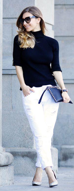 black   white - Zara White Distressed Boyfriend