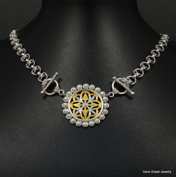 NATURAL PEARLS BYZANTINE 925 STERLING SIVER & 22K GOLD PLATED GREEK NECKLACE #IreneGreekJewelry #Collar