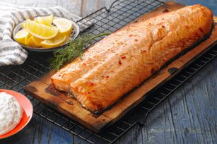 Cedar Plank Salmon with Dill Sauce recipe - another great grill idea.  Have a great long weekend everyone!