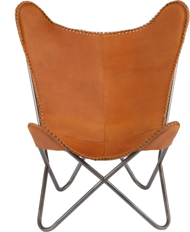 1938 saddle leather butterfly chair in chairs | CB2