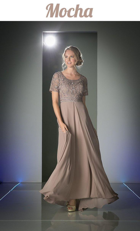 Short Sleeves Split Front Mother of the Bride Dress Mocha