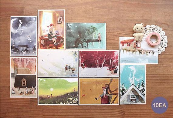 Illustrations for Daddy Long Legs // 10 Postcards // By pikwahchan on Etsy