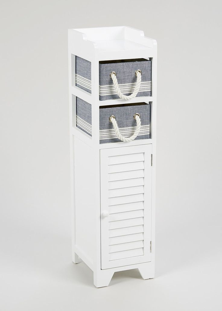 Keep your bathroom tidy with this 3 tier storage. The wooden tower unit in white includes 2 printed drawers with rope handles and a cabinet with magnetic...