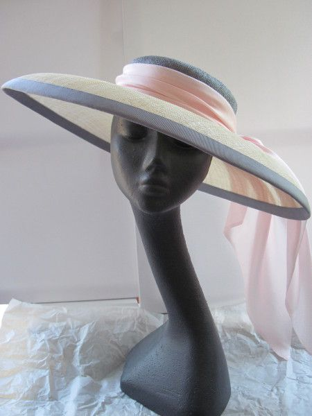 Grey and Pink Large Brimmed Hat by MIND YOUR BONCE #millinery #hats #HatAcademy