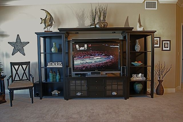 Entertainment centers for flat screen TVs should be chosen wisely. There are many ideas such as fastened flush, corner perch, ceiling sanctuary, and clever camouflage.
