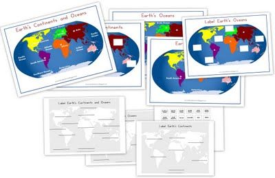Continents and Oceans Printables