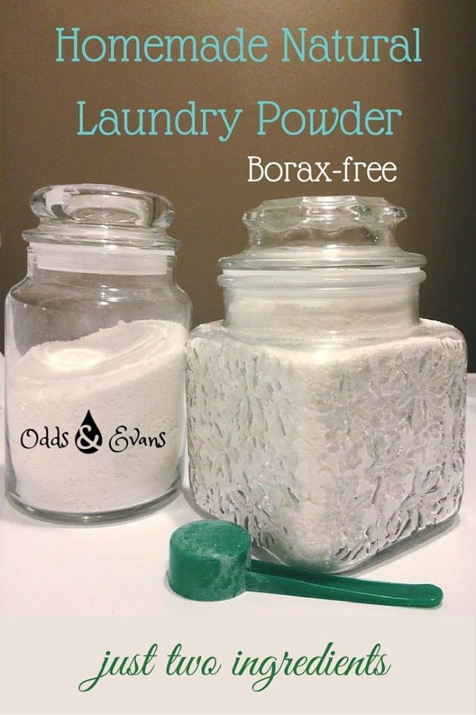 Two-ingredient recipe for approximately 40 loads of natural laundry powder! Can you guess which two items you need? No Borax necessary! | OddsandEvans.com