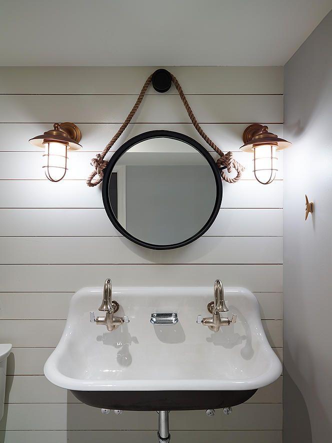 Fave nautical bath - trough sink, shiplap, sconces, cleat hook
