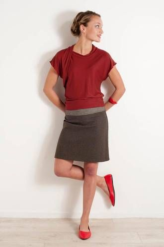 Over the shoulder striped top a lightweight little beauty with layered shoulder detail, great for warmer winter days and layering underneath to beat the chill; complete the look with our industrial-inspired utility skirt, or our sassy tweed woollen skirt - sweet! http://www.chalkydigits.co.nz