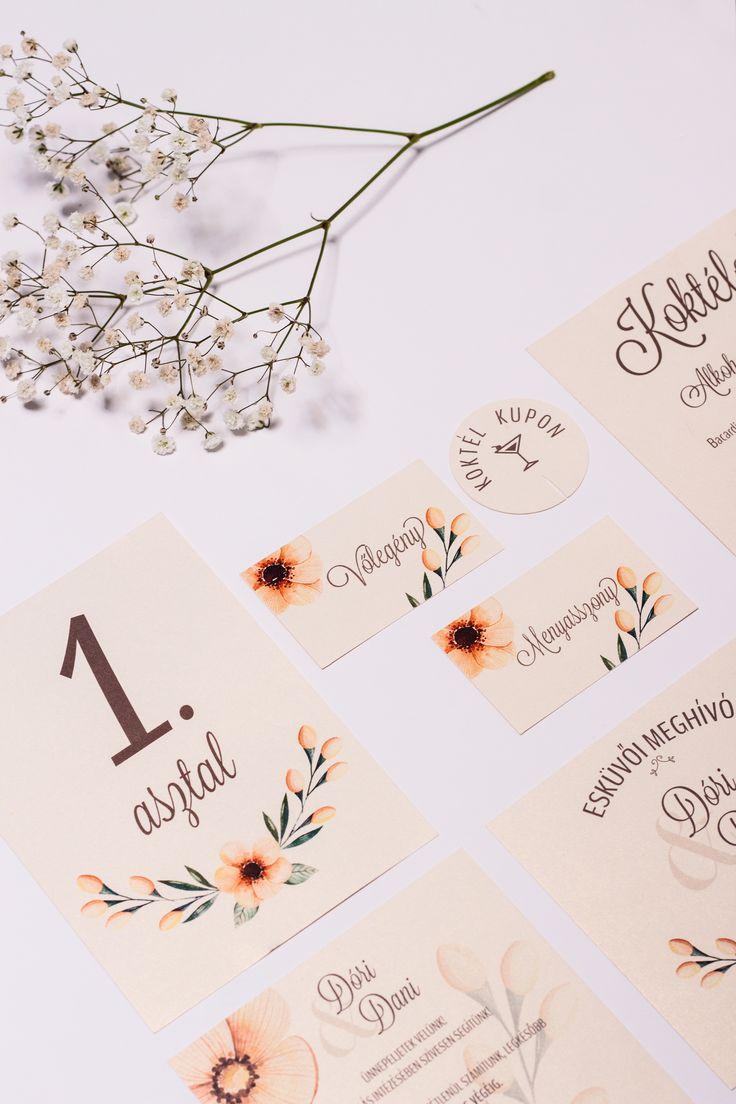 Custom made wedding invitation card design with flowers created by Zboznovits visuals.