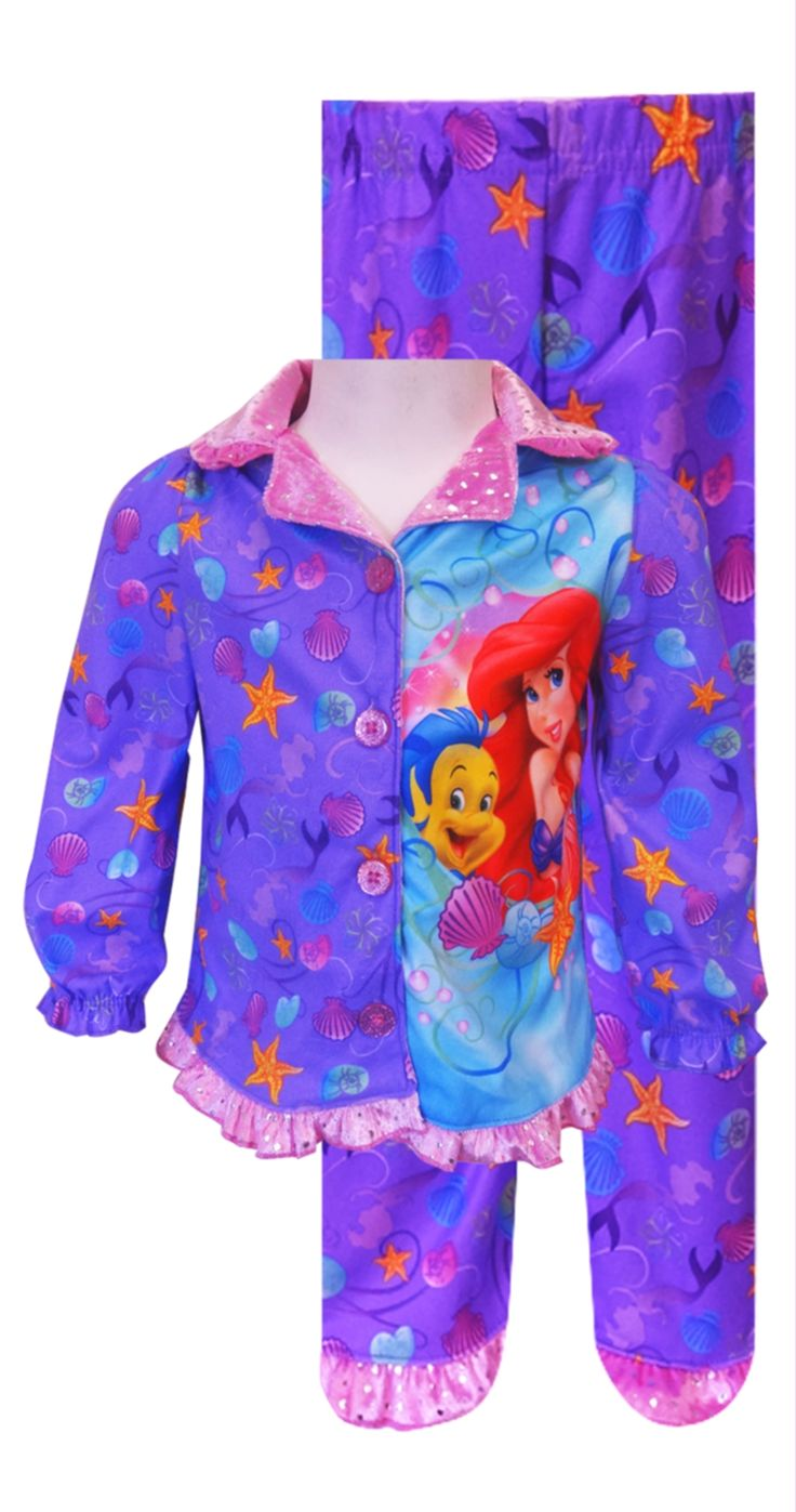 Disney Princess Ariel Button Front Toddler Pajama Classic styling and sparkly details make this a sure winner! These flame resi...
