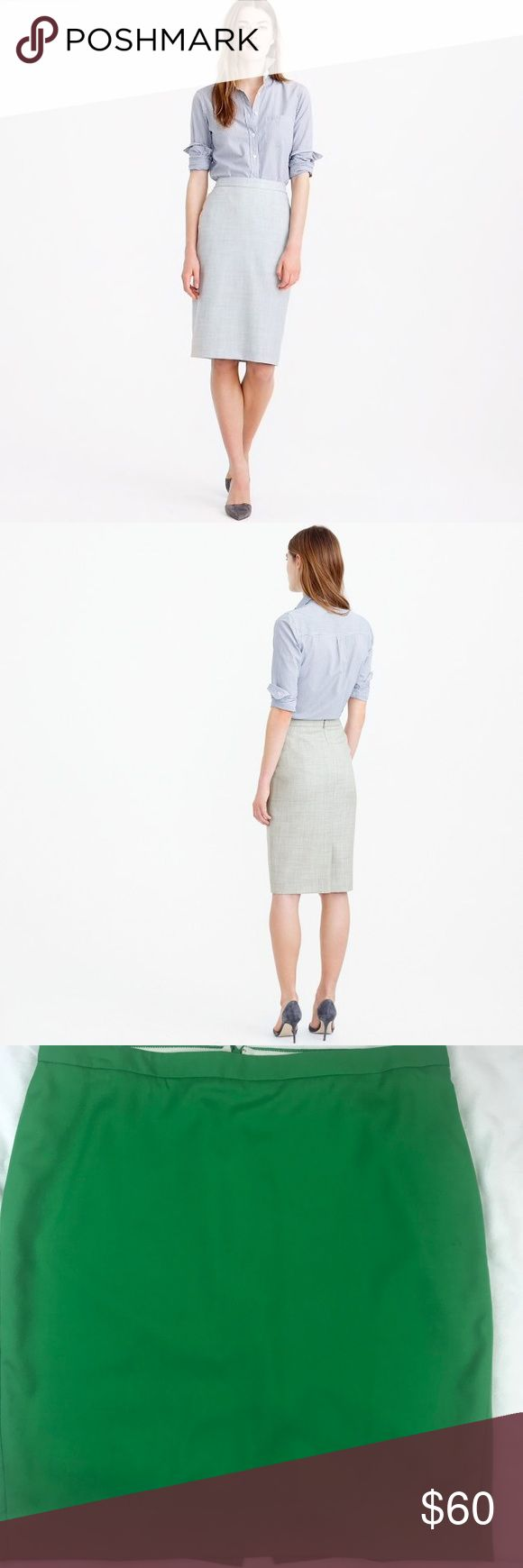 "J. CREW No. 2 Pencil Skirt Super 120s Wool Green J. CREW No. 2 Pencil Skirt Super 120s Wool Green  Classic pencil skirt made from our signature four season Super 120s merino wool. 120 is the finest fiber with silky smooth finish and refined drape. Back vent with concealed zipper. Lined in stretch fabric.   100% wool DRY CLEAN  Length 22 3/4"", waist 18 1/2"" J. Crew Skirts Pencil"