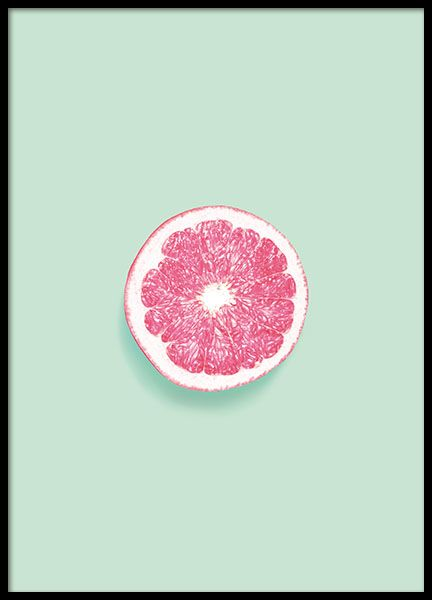 A stylish poster with photo art, pink grapefruit on a green background. Nice for many different styles of interior design. www.desenio.com