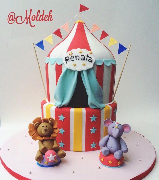 Pastel con tema de Circo para el Cumpleaños de Renata // Circus birthday cake for Renata