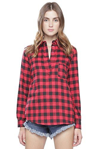 ALYGNE Womens Long Sleeve Woven Plaid… | Style | Pinterest ...
