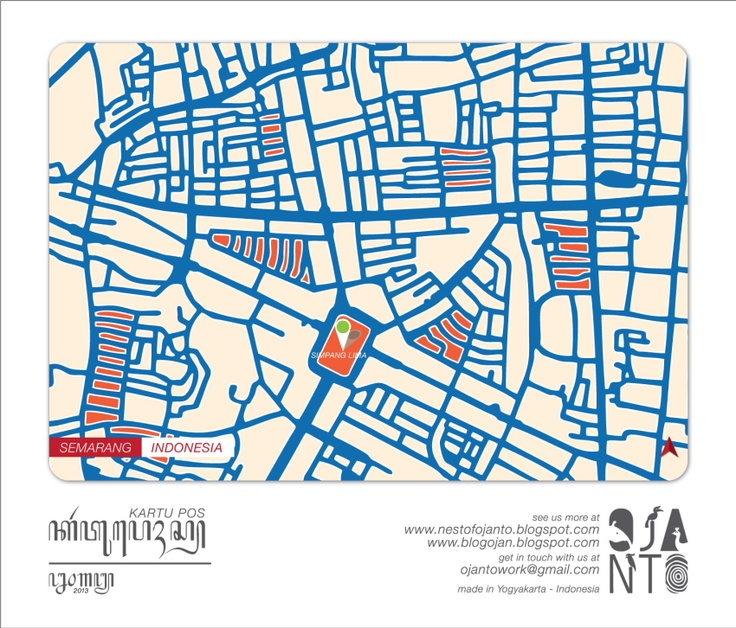 Indonesian City Maps Postcard Series (January 2013) | Semarang - Indonesia | special spot : Simpang Lima | Postcard Design by Ojan