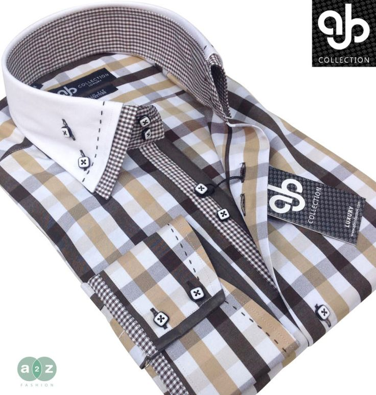 New Mens Smart Casual, White, Beige, Brown Double Collar Italian Slim Fit Shirt | eBay