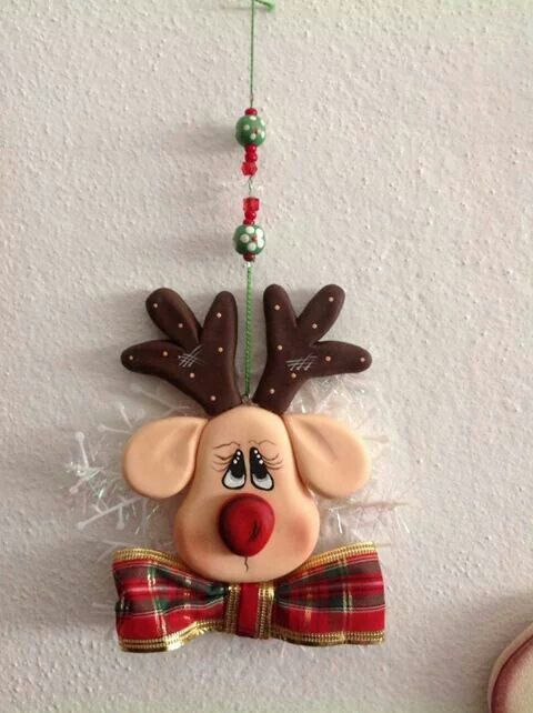 Polymer Clay hanging reindeer ornament
