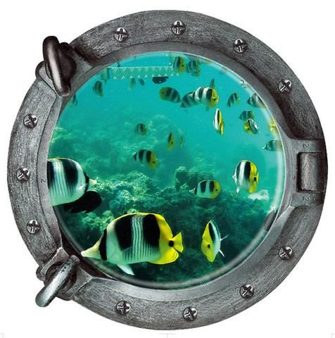 43*43CM Fish 3D Counterfeit Submarine Window Underwater World Wall Sticker