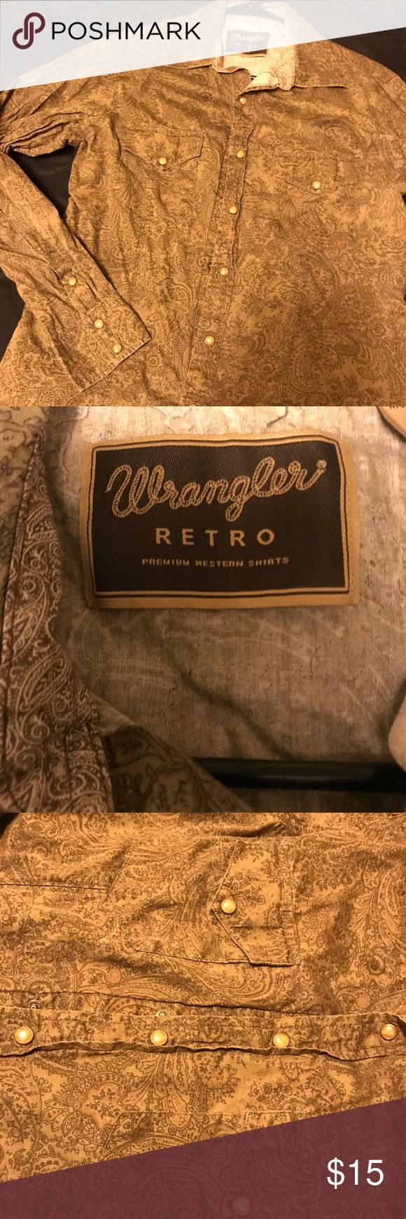 Retro Wrangler button down shirt Paisley like button down Retro Wrangler shirt Wrangler Shirts Casual Button Down Shirts