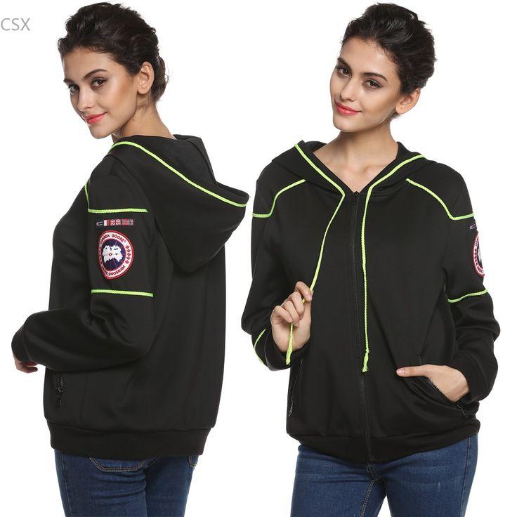 Alishebuy Cool Fashion Women Sweatshirt Spring Autumn Zip-up Hoodies Contrast Color Outerwear 2XL Multi-size Track Jacket @k #Affiliate