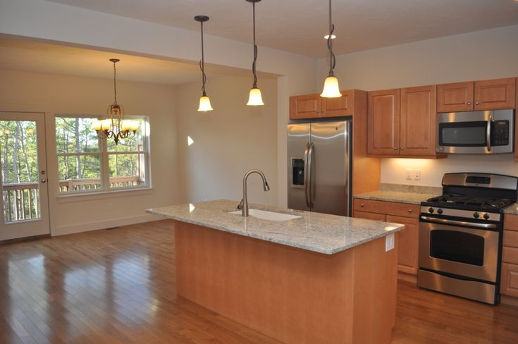 maple cabinets, Bianco Romano granite counters, stainless ... on Maple Cabinets With White Granite Countertops  id=98383