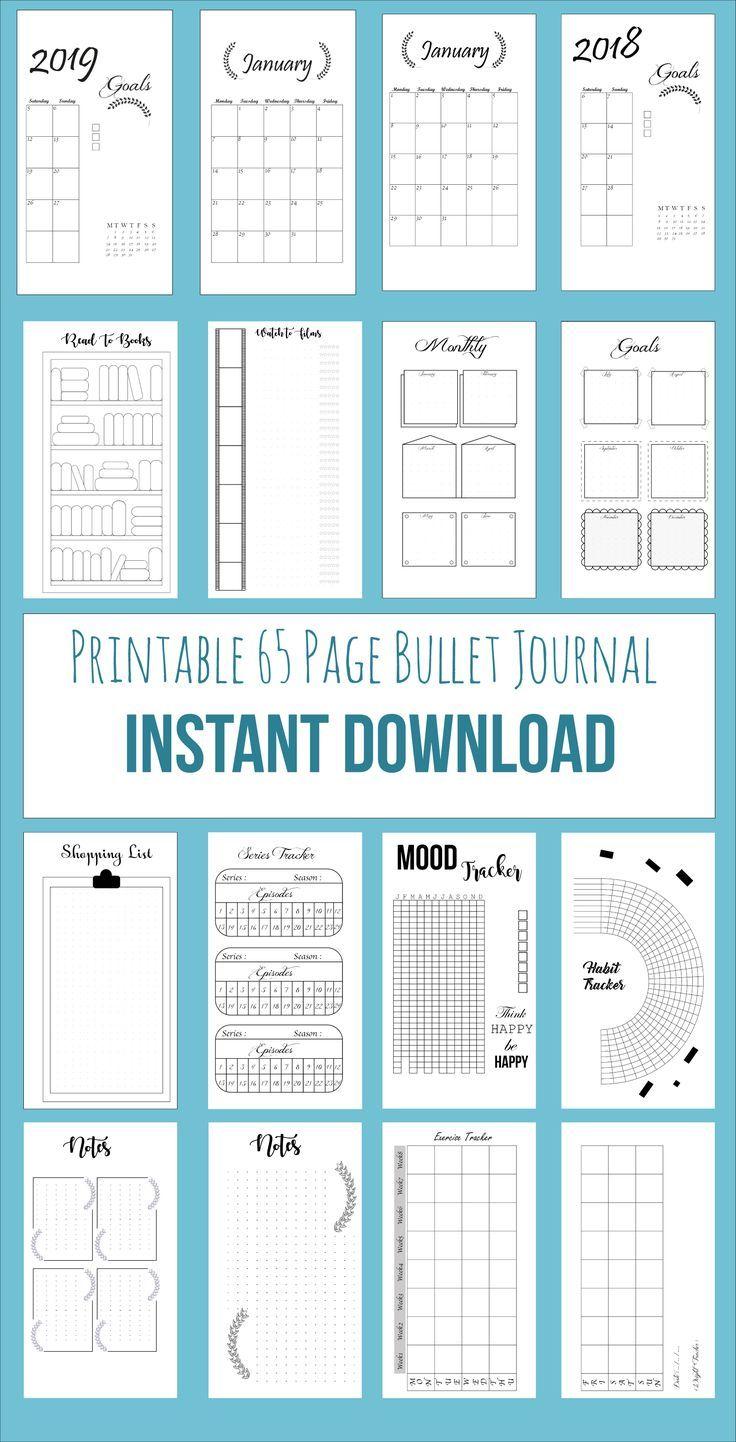 Printable Bullet Journal 65 SEITEN Ihr Download en…