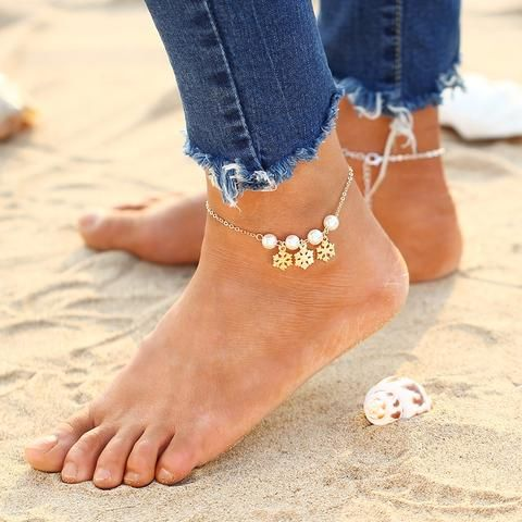 Summer Beaded Ankle Bracelet   Anklet - Leaf and Pearl