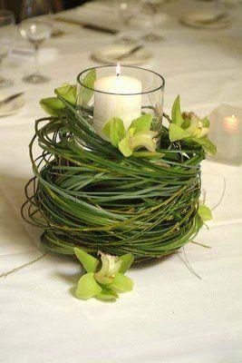 Love all the green!  Bear grass and cymbidium orchids