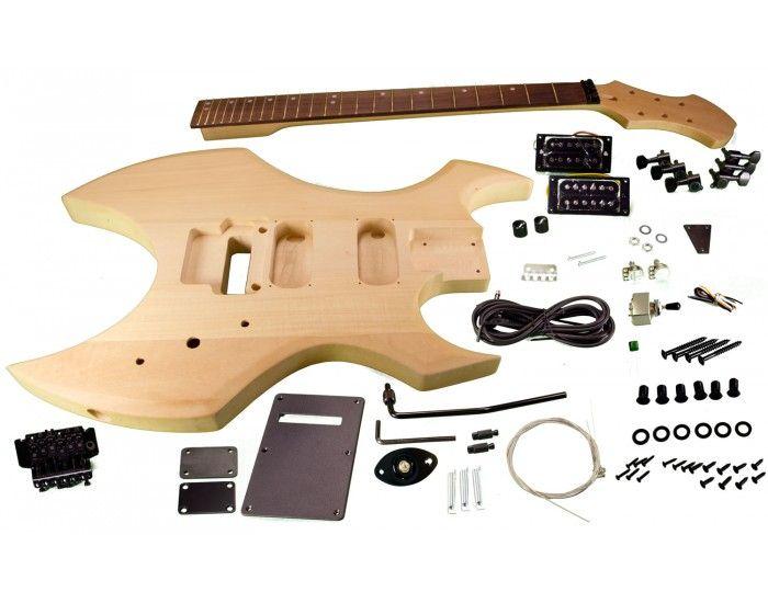 Solo AX Style DIY Guitar Kit, Basswood Body, Hard Maple Neck, Black Hdware