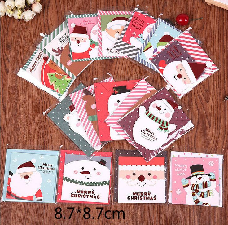 8pcs/pack Mini Cute Merry Christmas Cards Greeting Card Postcard Birthday Letter Envelope Gift Card Set Message Card 8.7*8.7cm
