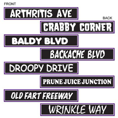 "A fun decorating item for your Over The Hill birthday party, this set of 4 street signs are great fun to place around your venue. Each of the four signs is printed on both sides, giving you a total of eight options! Your guests won't be able to hide their smiles as they notice your party is being held on ""Baldy Blvd"" or ""Prune Juice Junction""! Signs measure 4 inches tall, by 24 inches long. White lettering printed on a black background, with white and purple outline."