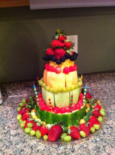 Fruit Birthday Cake I made for my daughter and husband..it was a hi...
