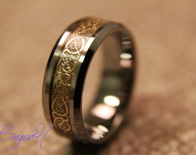 Or de marqueterie taille tungstène bandes de mariage, bague de mariage, la correspondance, anneau gravé promettent des bandes de mariage, bagues de promesse sa et sa
