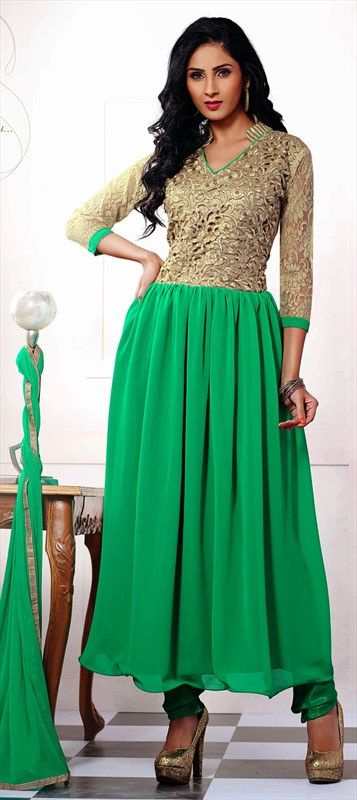 426206 Green  color family Anarkali Suits in Faux Georgette fabric with Lace, Resham work .