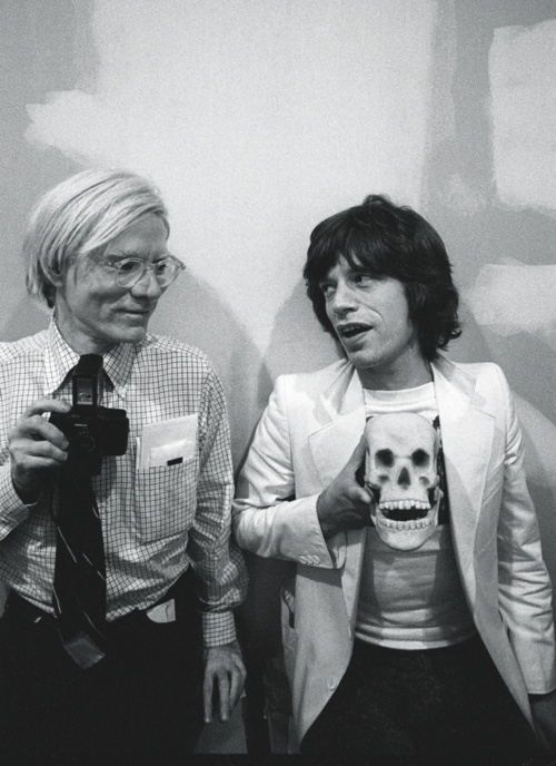 Mick and Andy Warhol at the Factory, October 1977 by Ken Regan