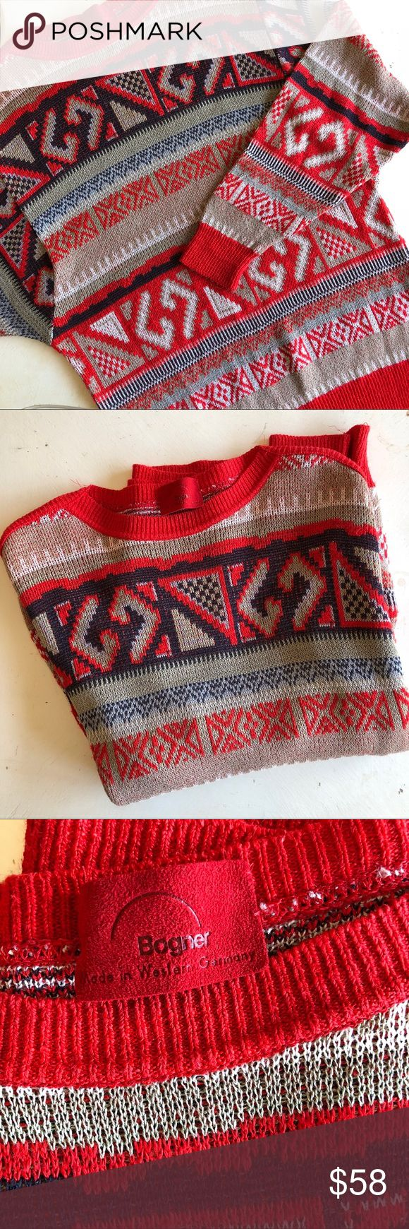 "Bogner bright red knit patterned sweater Size small knit sweater , bold red pattern. Linen, cotton & acrylic blend, Silky & lightweight. Bogner brand, Made in Germany- bust measures 40"" , length from shoulder to hemline 26"" great condition! Bogner Sweaters"