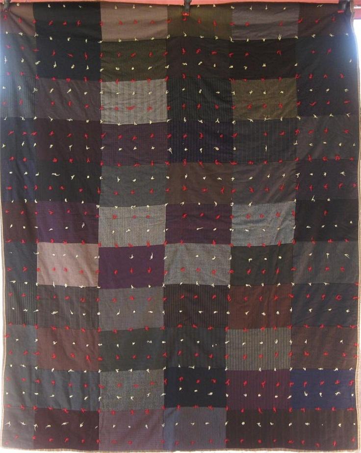 Stunning Antique BRICK WALL Vintage Quilt - Wools, Mens Suits, Gabardines. $175.00, via Etsy.