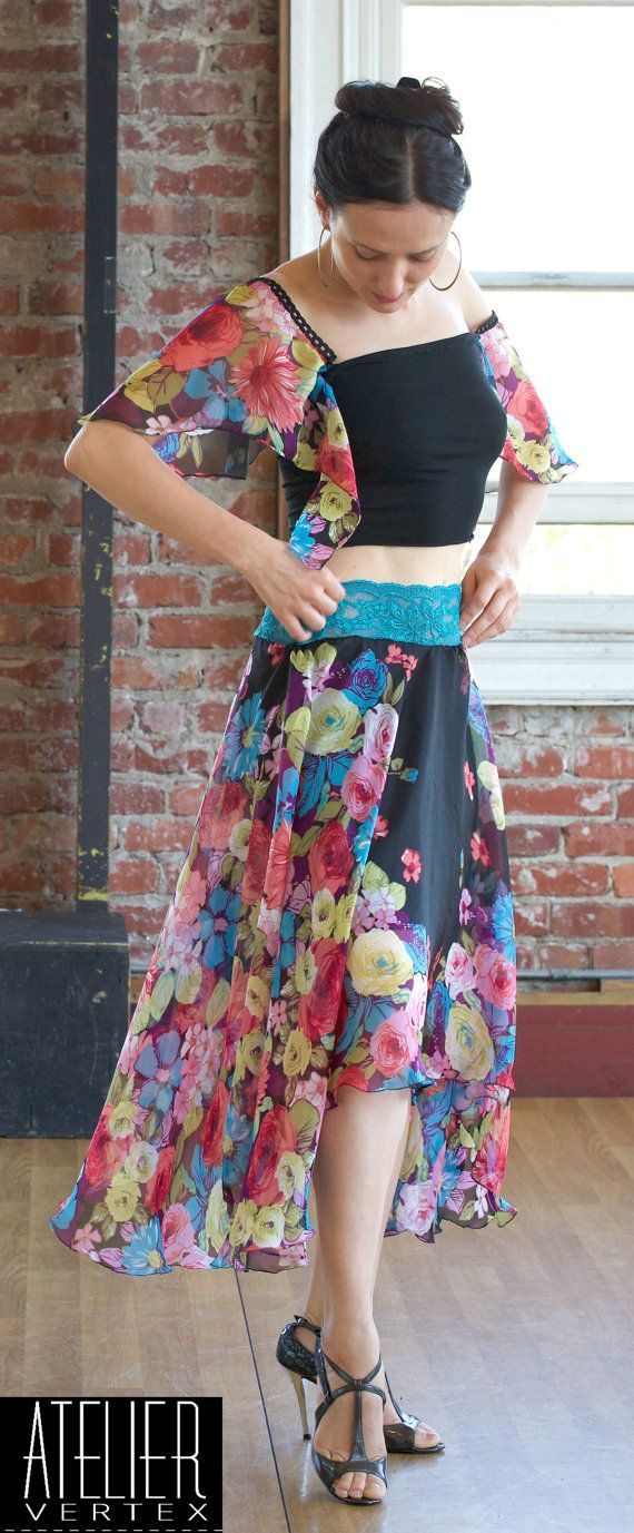 Wild flower silk skirt. Tango Skirt. Dance by AtelierVertex, $169.00
