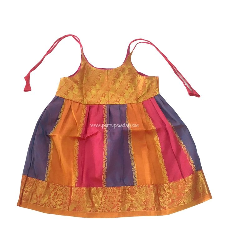 Buy Kids Pure Silk Frock Pink Stripes only at pattupavadai.com