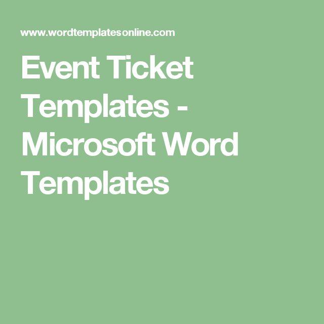 Event Ticket Templates - Microsoft Word Templates