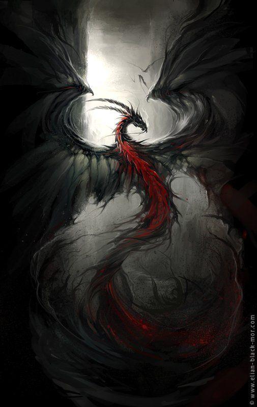 Darkauss, dragon noire des ténèbres, pouvoir : feu noire et camouflage de fumée